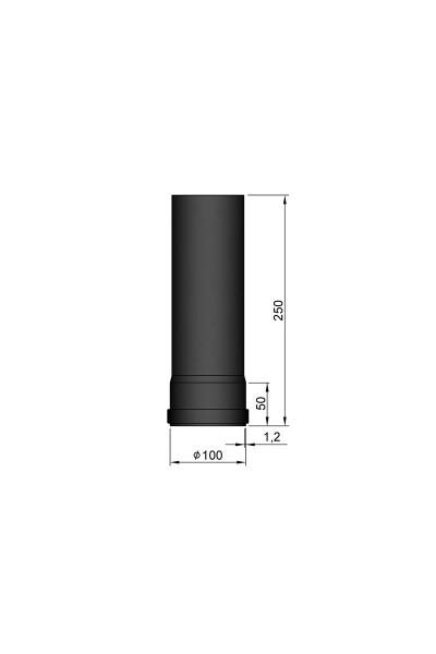 Røgrør L:250mm Ø 100 mm